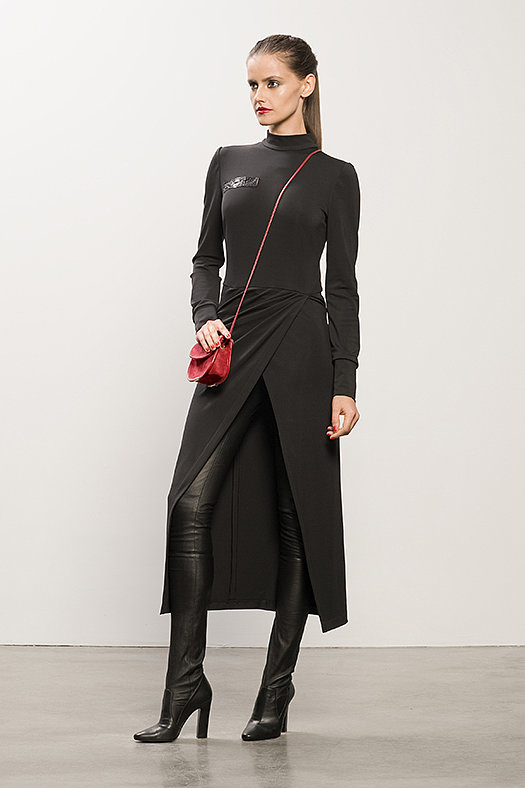 Long Black Jersey Dress With Snakeskin ($895), Sweet Revenge Black Leather Legging Boot ($1,995), TM Enjoy Red Suede Cross Body Bag ($650) Photo courtesy of Tamara Mellon