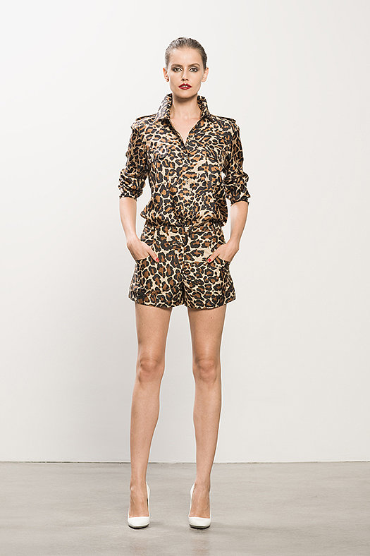 Silk Twill Double Pocket Leopard Blouse ($395), Sateen Leopard Shorts ($375), Heaven White Patent Pump ($495) Photo courtesy of Tamara Mellon