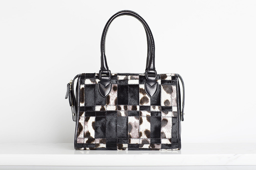 Seductive Pony Satchel in Grey/Cream/Black Leopard ($1,495) Photo courtesy of Tamara Mellon