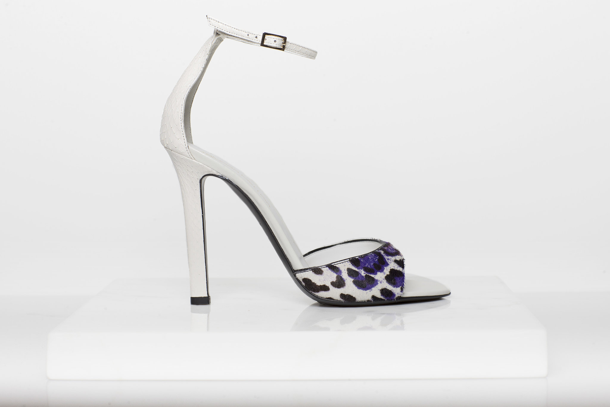Wild Night Pony Sandal in Purple/Cream Leopard With Cream Watersnake Trim ($750) Photo courtesy of Tamara Mellon
