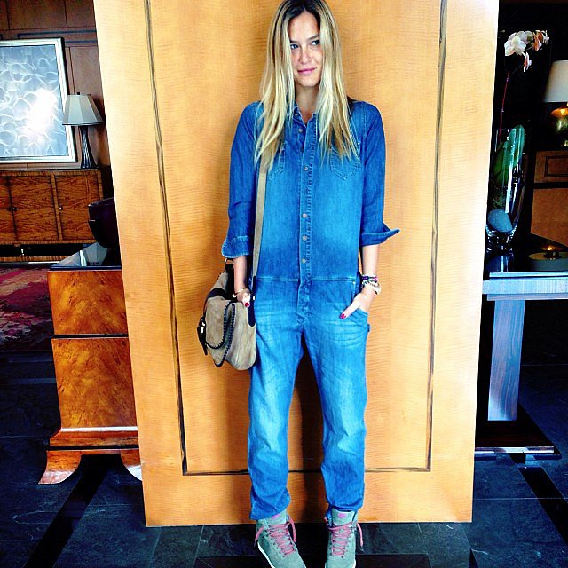"Bar Refaeli wore a denim jumpsuit, saying, ""Anyone need help in construction? I'm ready."" Source: Instagram user barrefaeli"