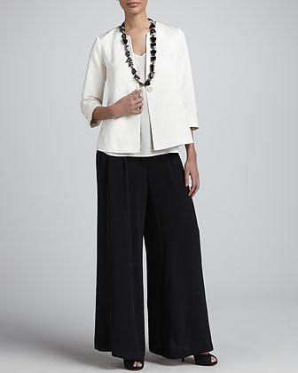 Eileen Fisher Silk Georgette Wide-Leg Pants, Women's