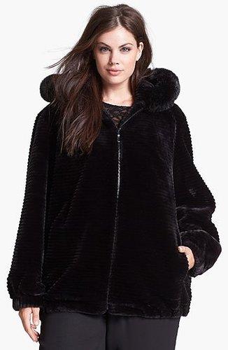 Gallery Hooded Faux Fur Blouson Jacket (Plus Size)