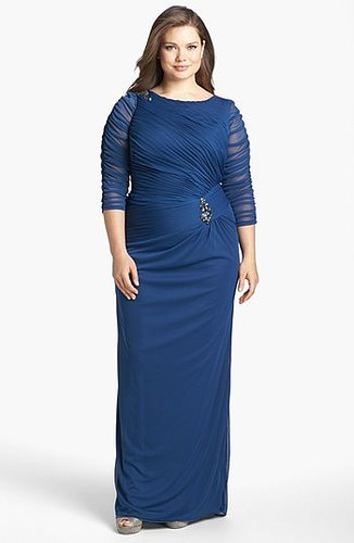 Adrianna Papell Brooch Embellished Ruched Mesh Gown (Plus Size)