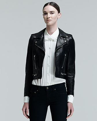 Saint Laurent Cropped Leather Motorcycle Jacket