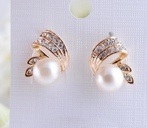 wishlove — [grlhx130044]Nice white rhinestone earrings