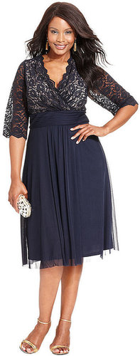 Jessica Howard Plus Size Dress, Three-Quarter-Sleeve Lace Empire-Waist