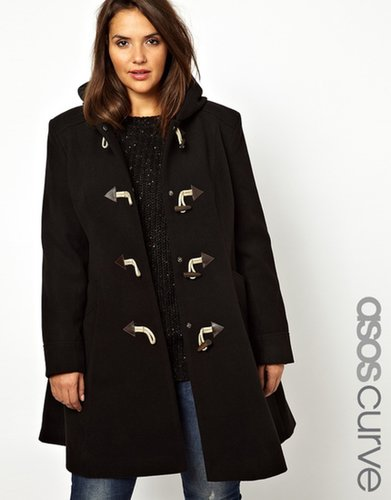 ASOS CURVE Exclusive Duffle Coat With Hood