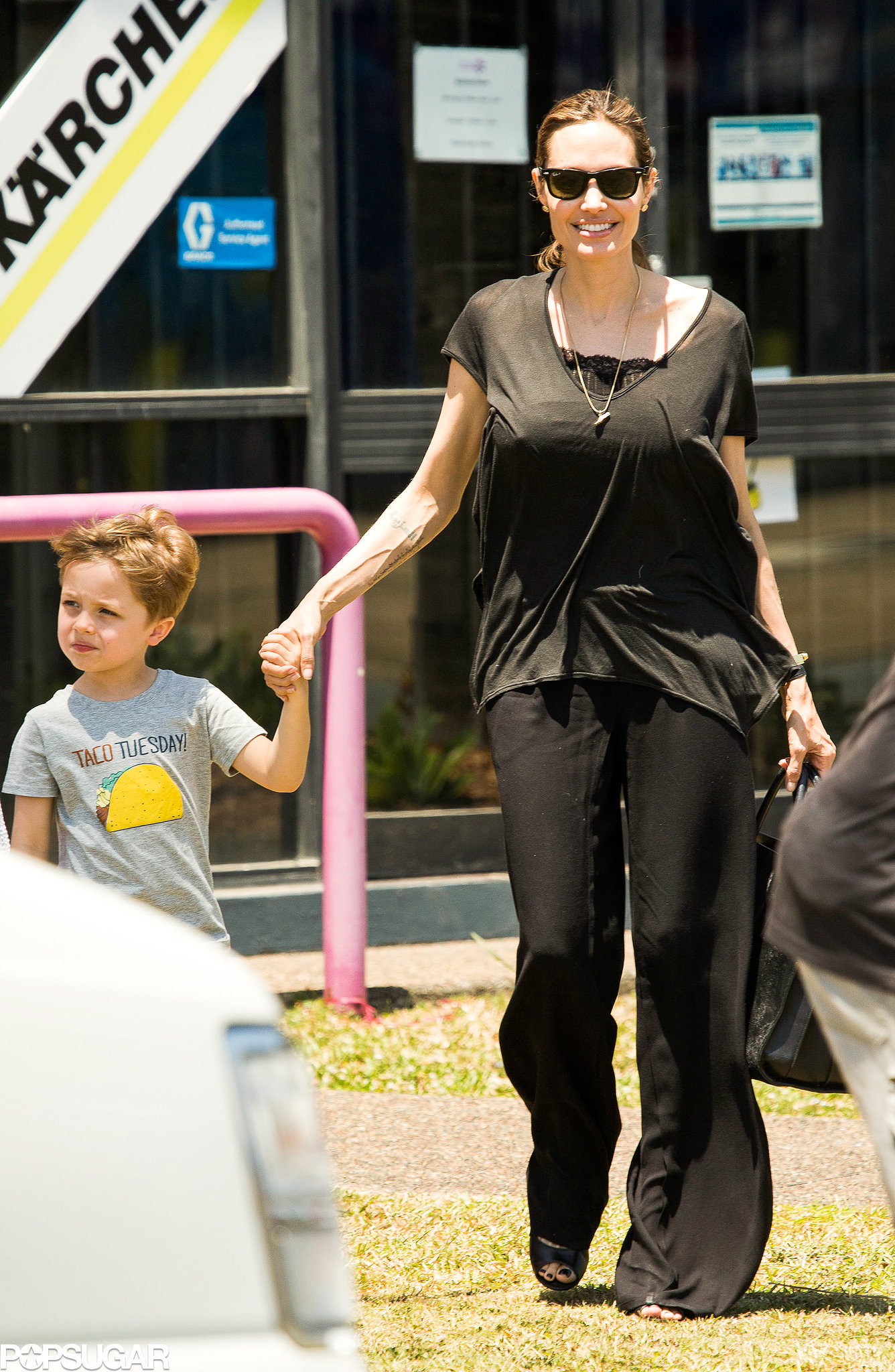 Angelina Jolie held hands with Knox when she brought her little ones along to shop for Halloween decorations.