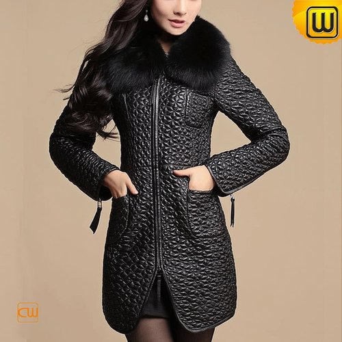 Women Quilted Sheepskin Leather Coat CW613039