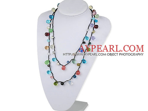 Long Style Assorted Multi Color Drop Shape Crystal Necklace with Black Thread