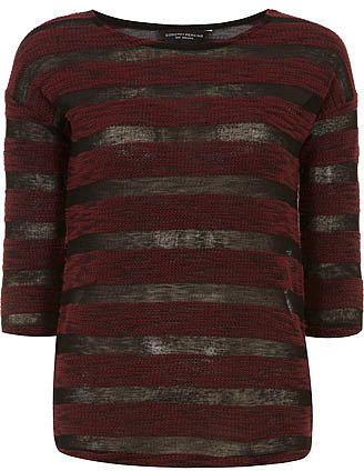 Wine sheer stripe jersey knit