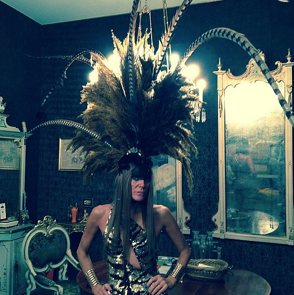 Not to be outdone, Anna Dello Russo was finely feathered too. Source: Instagram user anna_dello_russo