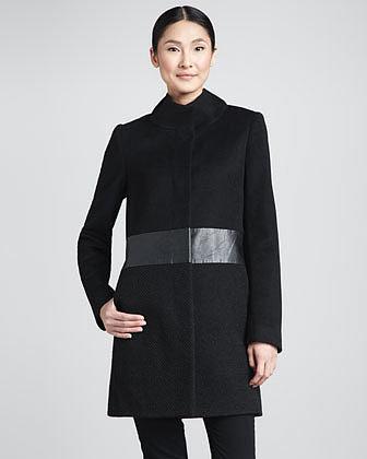 Elie Tahari Devon Faux-Leather-Waist Coat