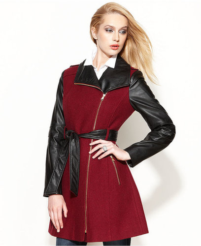 GUESS Coat, Asymmetrical Mixed-Media Faux-Leather Belted