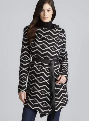 BB Dakota Two Pocket Hooded & Belted Wrap Coat
