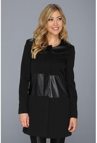 Nine West - Crepe and Leather Coat (Black) - Apparel