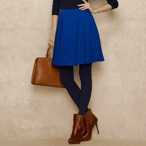 Ralph Lauren Blue Label Pleated Jersey Skirt