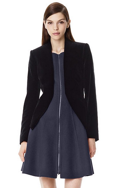 The worst part about Fall dressing is hiding my party dresses under boxy blazers. Theory's shapely style ($415) is the perfect plus-one for my eveningwear. — RM