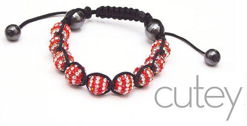 Red on White Shamballa Bracelet