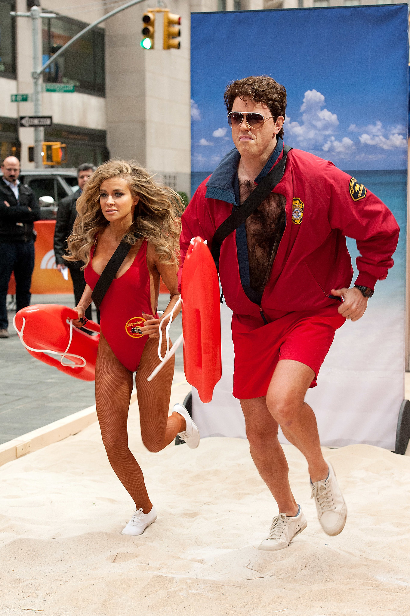 Willie Geist and Carmen Electra teamed up for Baywatch costumes.