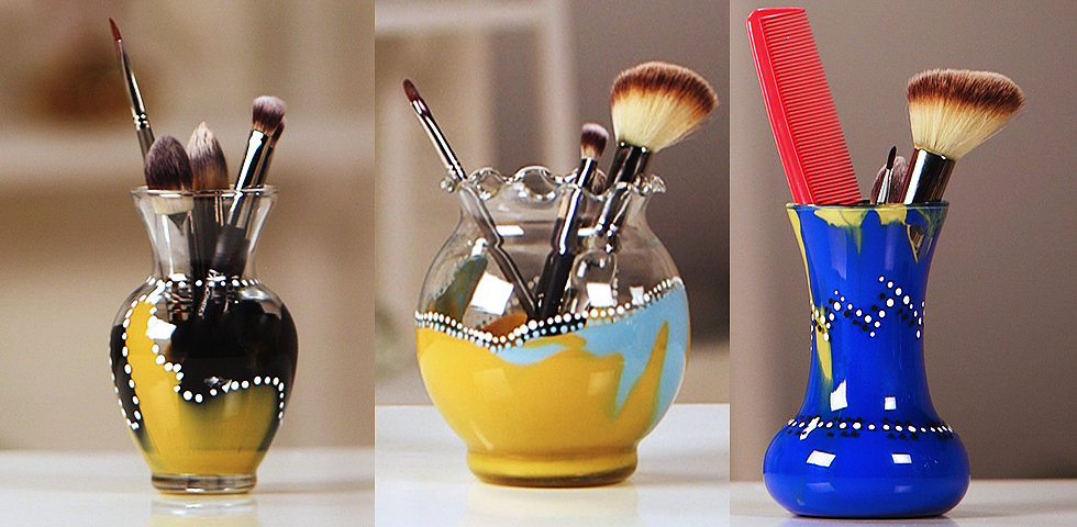 2 Steps to a Gorgeous Painted Makeup Brush Holder