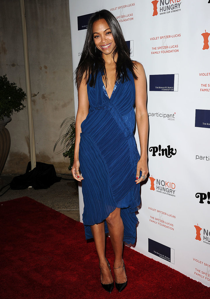 At the Share Our Strength's No Kid Hungry dinner, Zoe Saldana was the picture of laid-back elegance in Chloé's bright and easygoing ruched design.