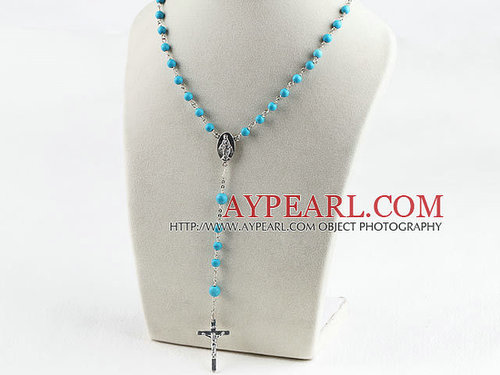 31.5 inches prayer beads, 6-8mm turquoise ball necklace rosary with cross