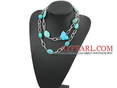 39 inches turquoise necklace with metal chain