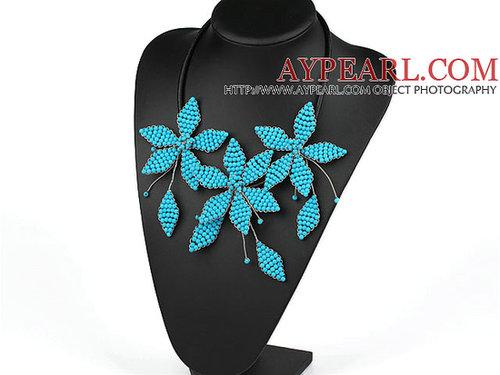 Elegant Style Blue Turquoise Leaf Shape Flower Party Necklace