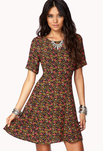 FOREVER 21 90s-Nodding Floral Skater Dress
