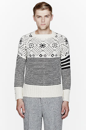 THOM BROWNE White patterned sweater