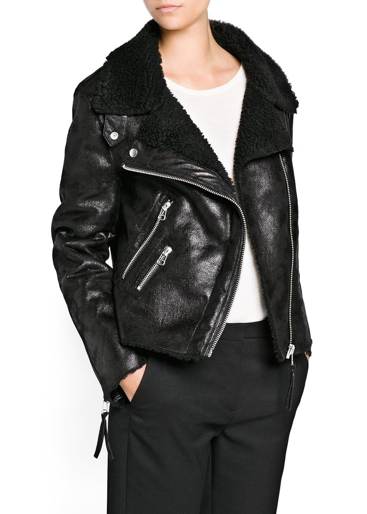 Always count on Mango for a deal so good, we hesitated to share it with you. The chain offers a pretty stellar black-on-black jacket ($110) that won't crush your bank account.