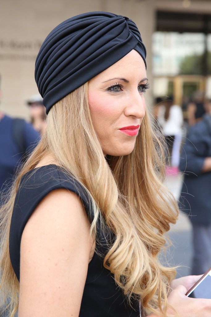 Pair your dressed-up turban with a pop of bright lipstick.
