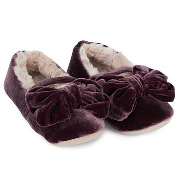 Ruby + Ed Teddy Fleece Velvet Bow Slippers