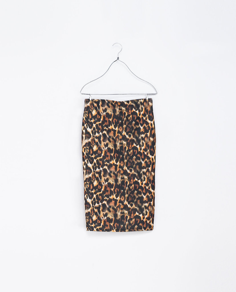 Liven up any work outfit with Zara's printed midi pencil skirt ($26).