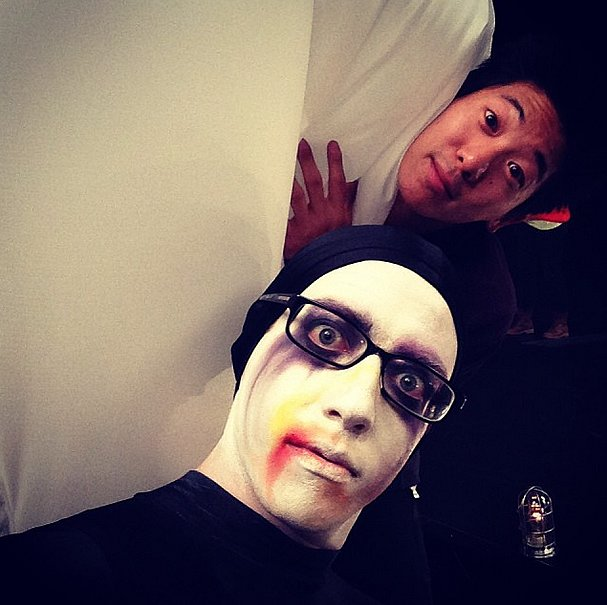 Kevin McHale showed off his Lady Gaga-inspired makeup look on the set of Glee. Source: Instagram user kevinmchale