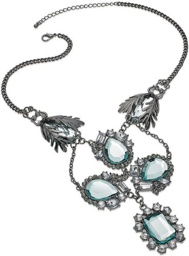 Bar III Necklace, Hematite-Tone Blue Stone Statement Necklace