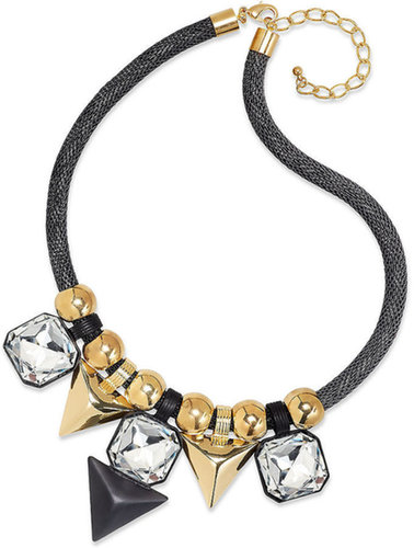Bar III Gold-Tone and Black-Plated Crystal Stone Statement Necklace