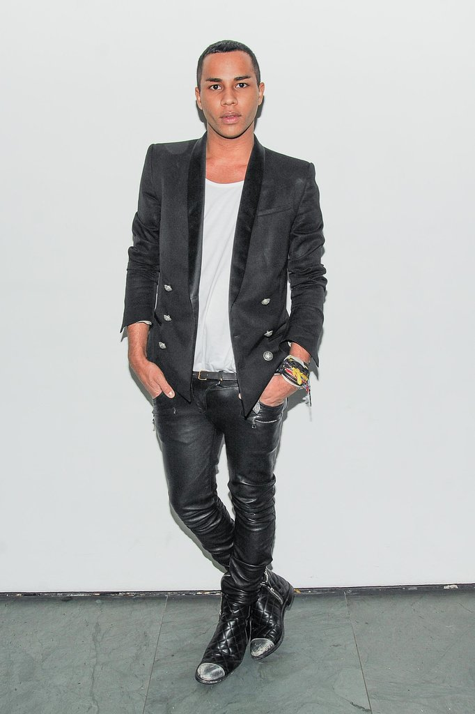 At the WSJ. New York fete, Olivier Rousteing got some edge from his dark separates.