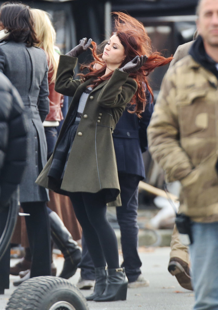Emilie de Ravin on the set of Once Upon a Time.