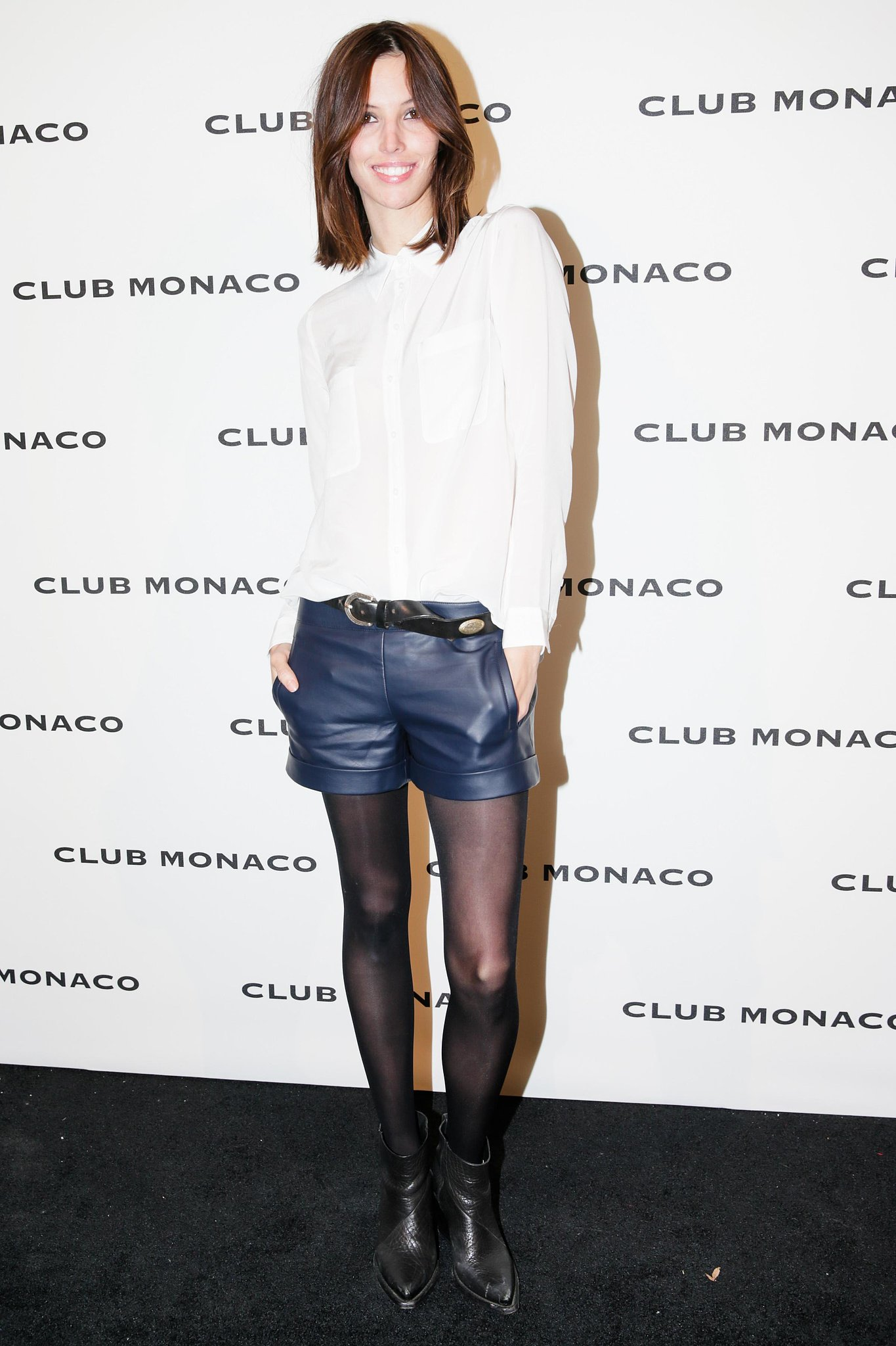 Ruby Aldridge worked her gams in leather shorts outside the Club Monaco bash.