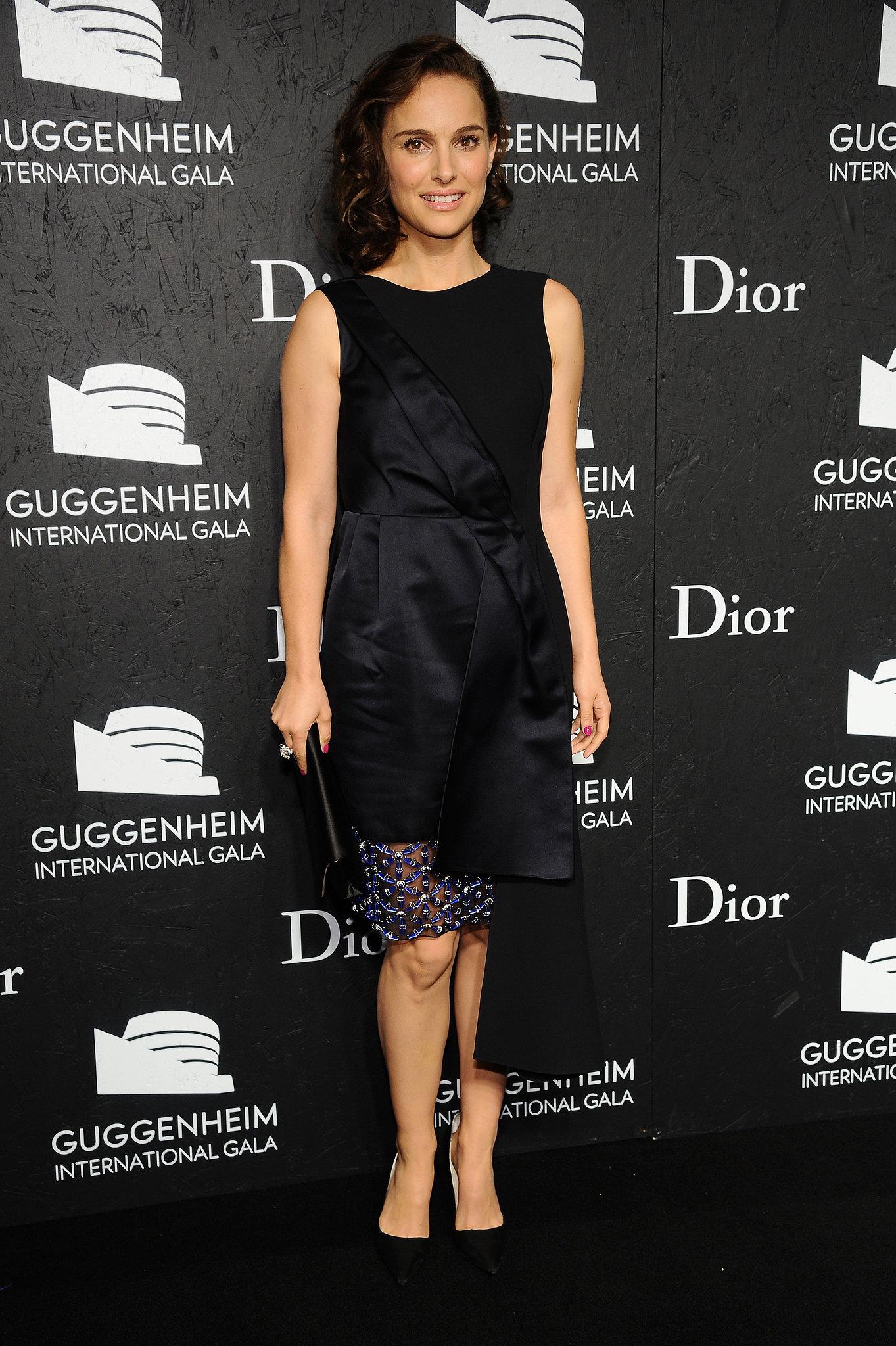 Natalie Portman wore a Dior dress to the Guggenheim International Gala in NYC.