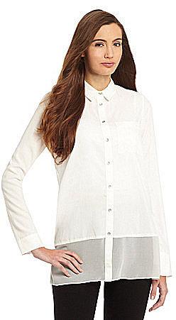 Calvin Klein Jeans Mixed-Media Button-Down Blouse