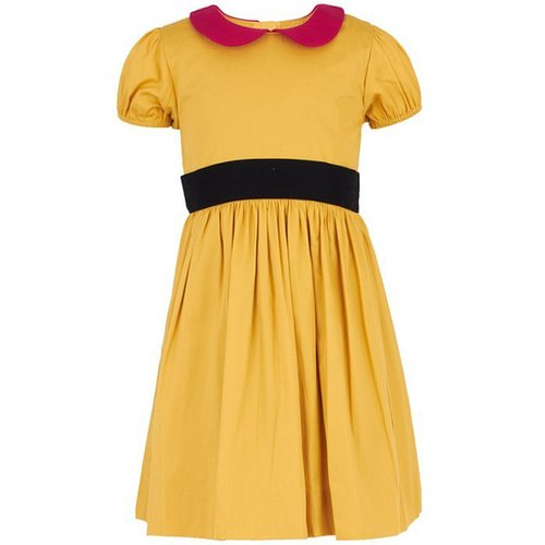 Livly Mustard Dress with Fuchsia Collar