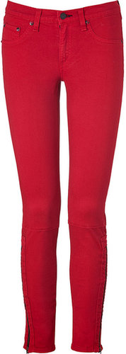 Rag & Bone Red Twill Zipped Ankle Skinny Pants