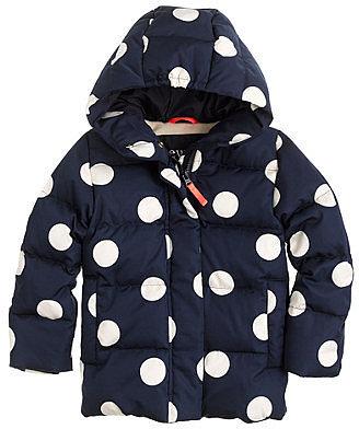 Girls' puffer in polka dot