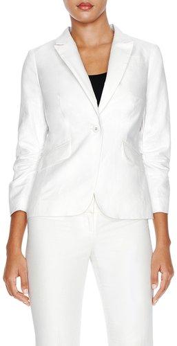Linen Blend Peaked-Lapel Jacket