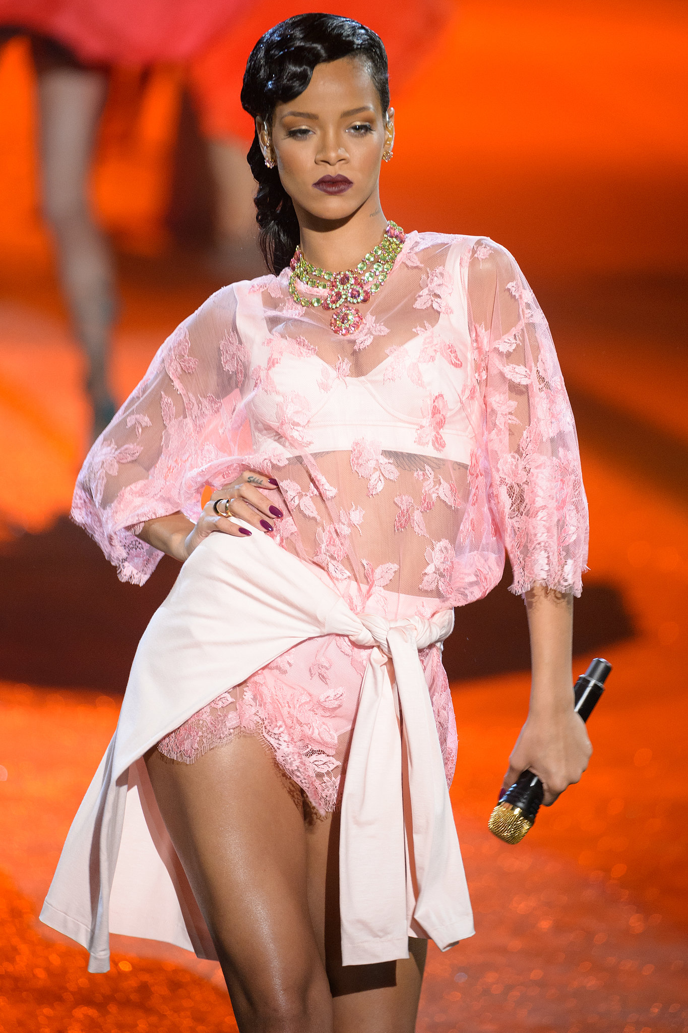 Rihanna took her turn on the catwalk while performing during the 2012 fashion show.