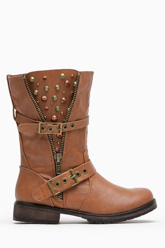 Breckelles Embellished Tan Rider Boots @ Cicihot Boots Catalog:women's winter boots,leather thigh high boots,black platform knee